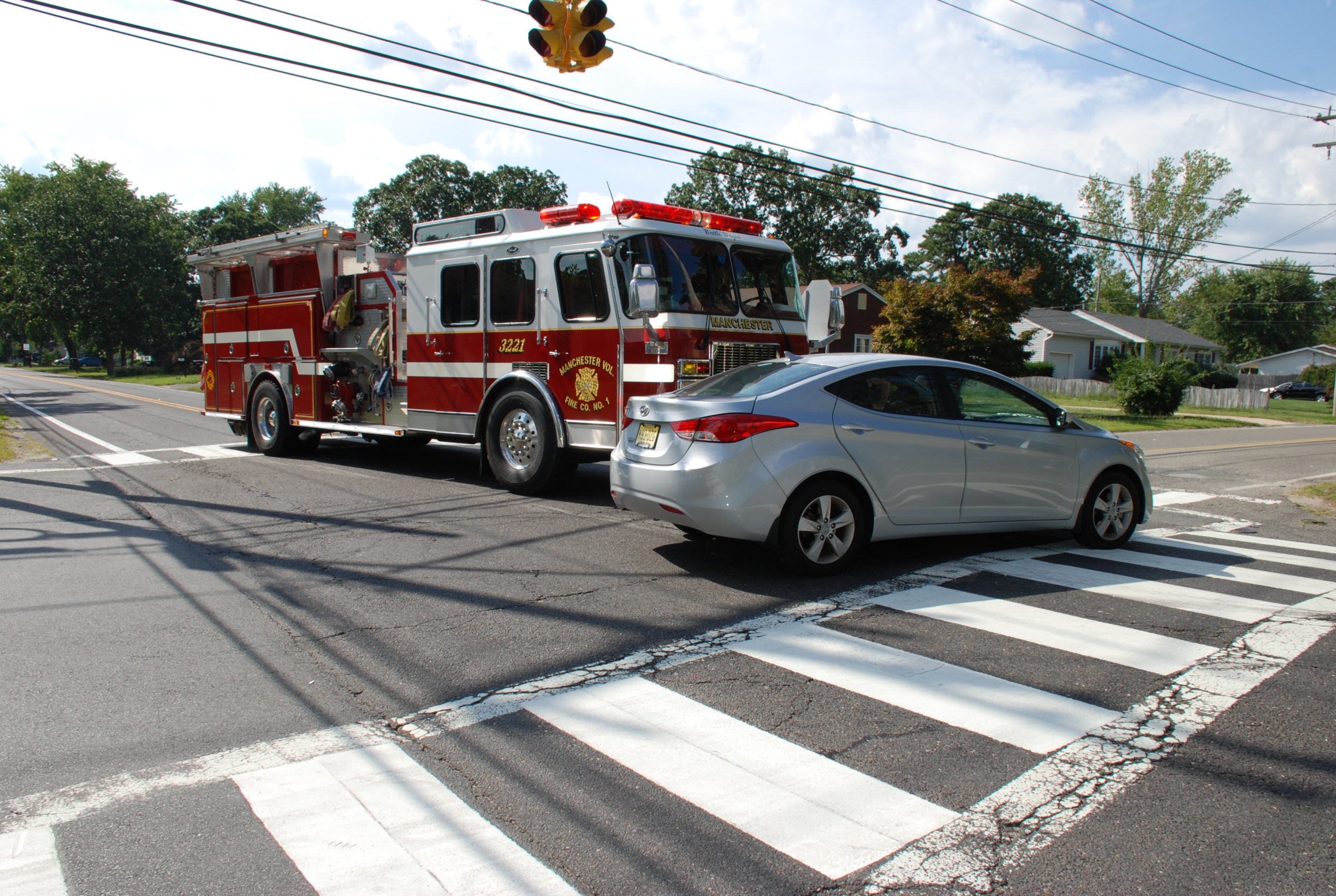 Driver Collides With Manchester Volunteer Fire Engine